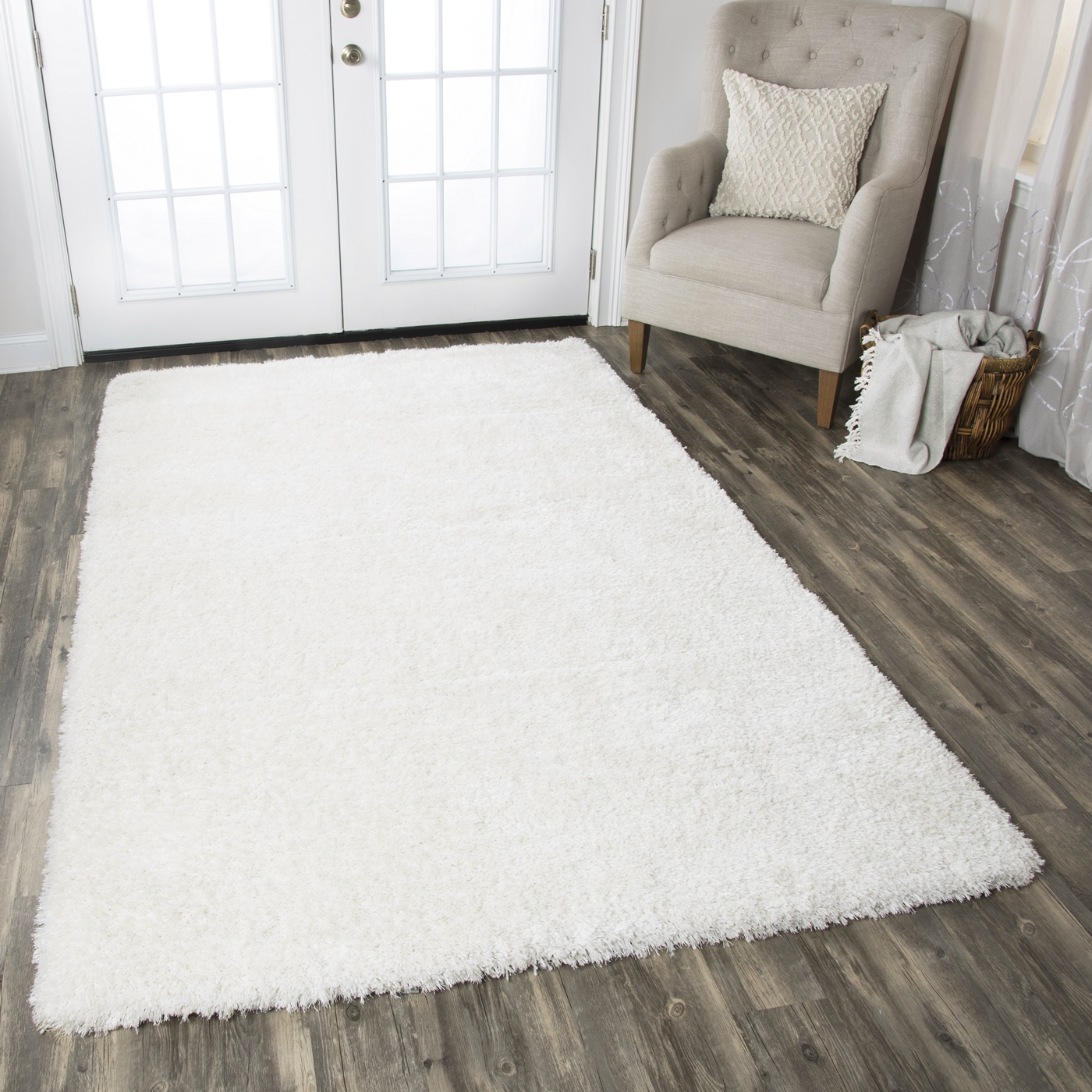 Commons Plush Hand Tufted Area Rug In Solid White 8 X 10