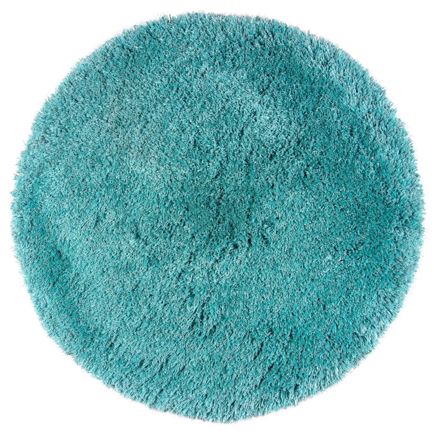 Commons Plush Hand Tufted Round Rug In Solid Aqua Blue 3