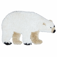 "Commons Soft Shag Kid Shape Area Rug 42 x 26""White Beige Brown Polar Bear Youth"