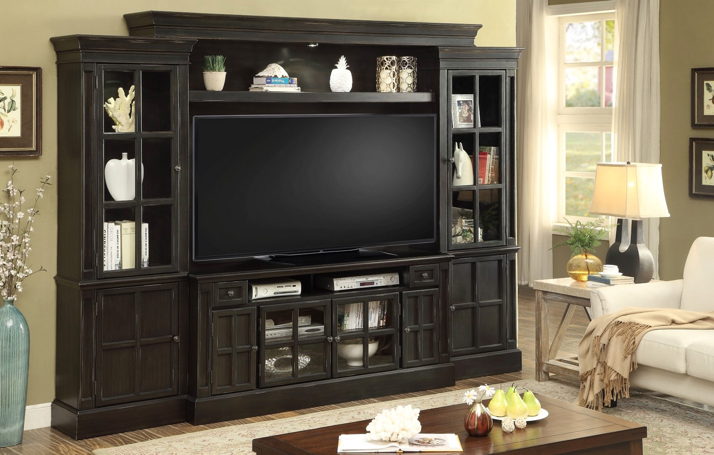 Concord Traditional 62 Entertainment Wall Unit In Vintage Distressed Black Coal