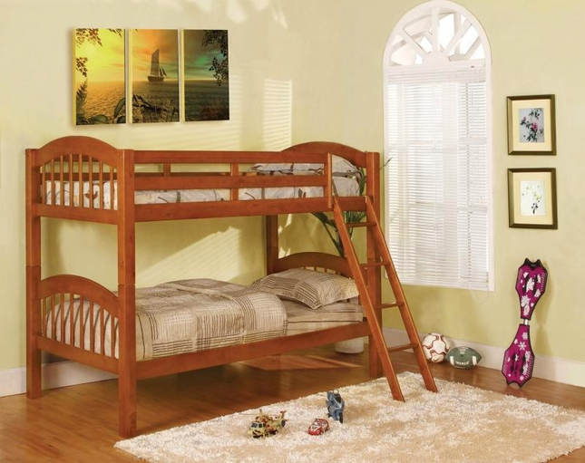 Coney Island Picket French Oak Bunk Bed with Front Access Fixed Ladder