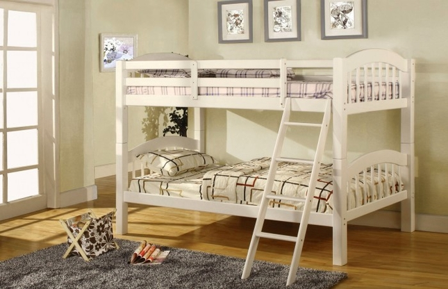 Coney Island Picket French White Bunk Bed with Front Access Fixed Ladder