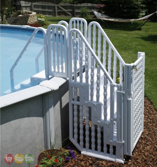 Superieur Above Ground Pool Complete Safety Stair Entry System With Locking Gate