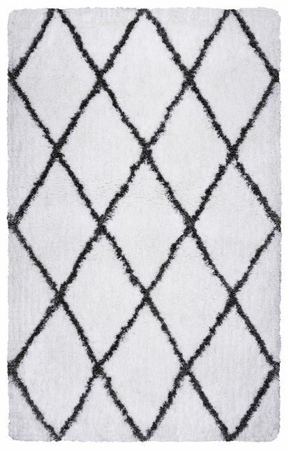 Connex Diamond Pattern Hand Tufted Area Rug In White Gray 3 X 5