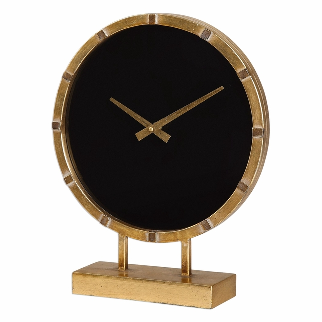 Contemporary Aldo Quartz Movement Gold Table Clock With Black Glass Clock Face