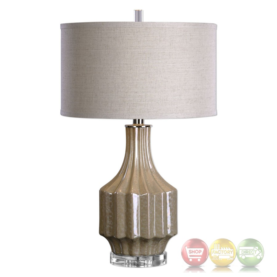 Contemporary barron pearlescent sand brown ceramic table for Brown table lamp shades