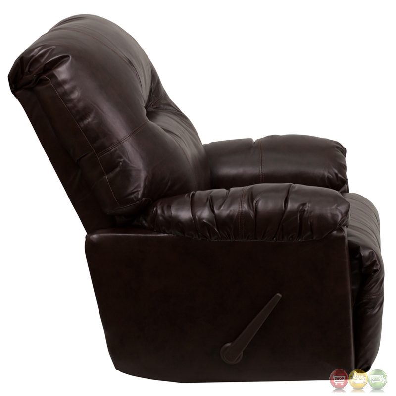 Contemporary bentley brown leather chaise rocker recliner for Brown leather chaise