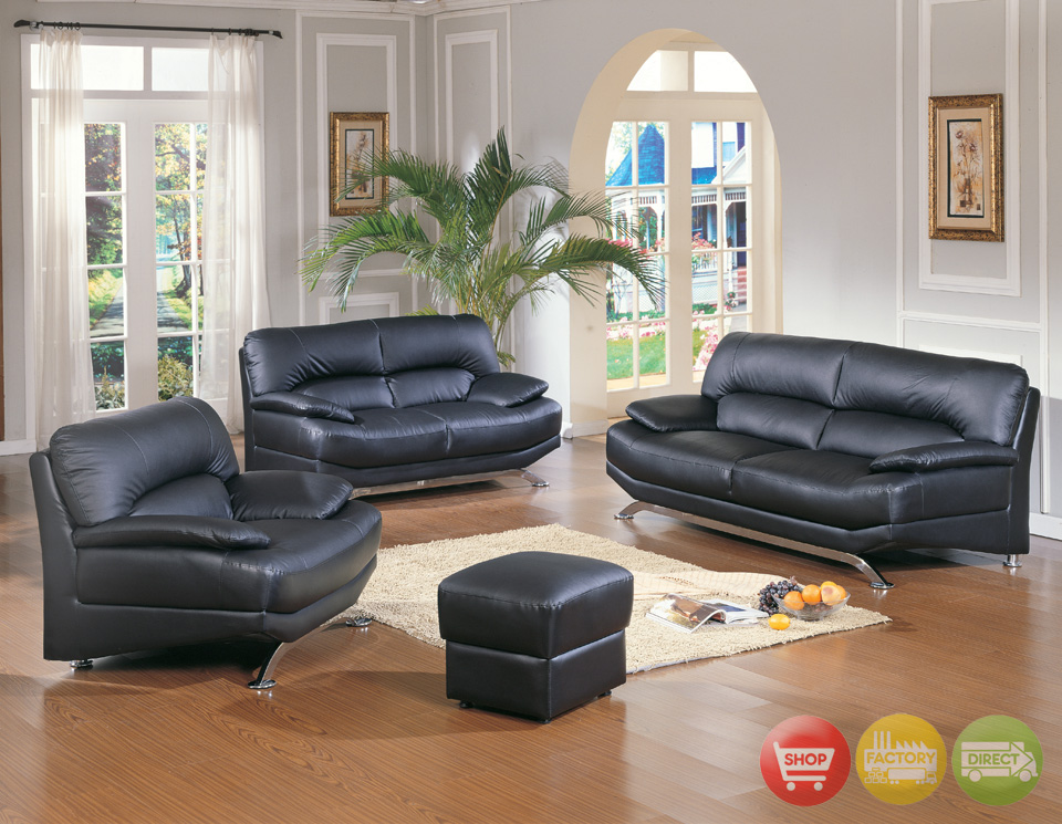 Black leather living room set modern house for Black living room furniture sets