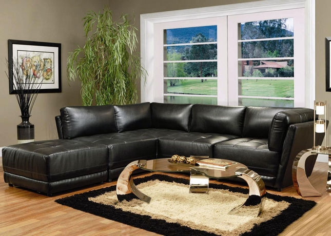Contemporary Black Leather Modular Sectional Sofa Set