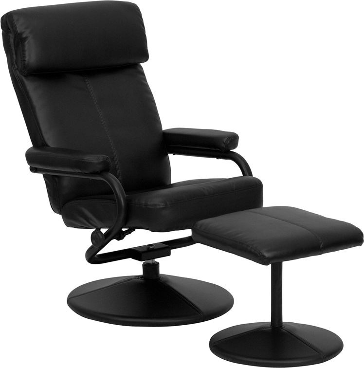 Flash Contemporary Black Leather Recliner and Ottoman with L