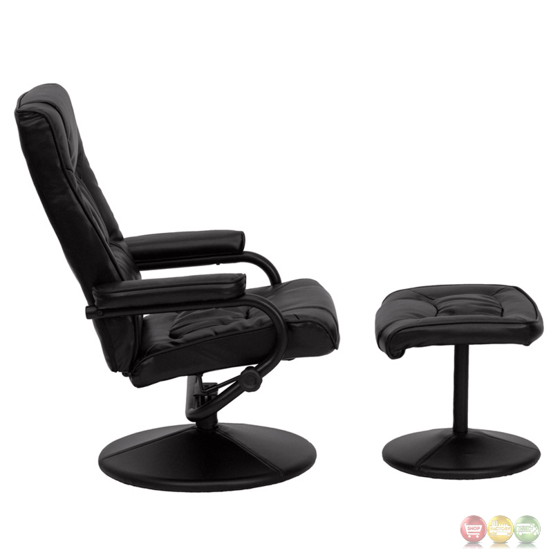 Contemporary Black Leather Recliner And Ottoman With