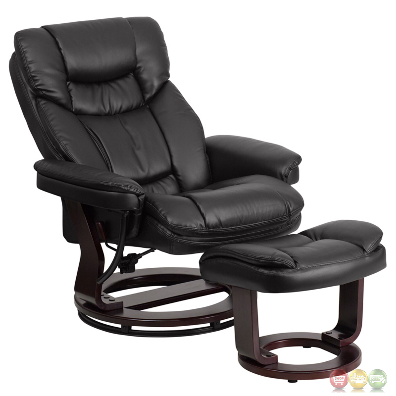 contemporary black leather recliner ottoman w swiveling mahogany wood base. Black Bedroom Furniture Sets. Home Design Ideas