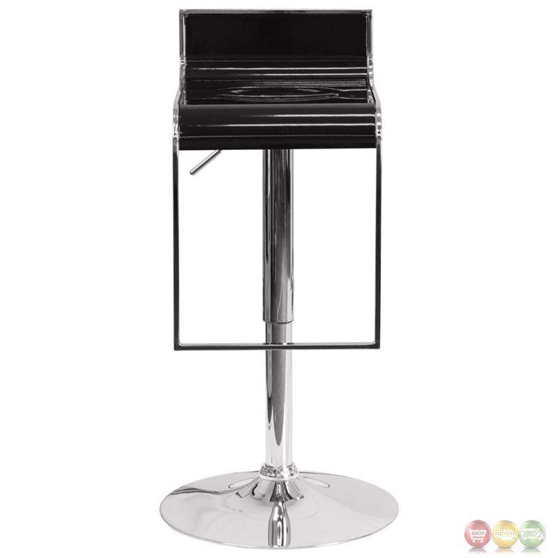 Contemporary Black Plastic Adjustable Height Barstool With