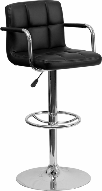 Contemporary Black Quilted Vinyl Adjustable Height Barstool W/ Chrome Base
