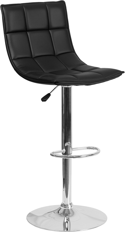 Contemporary Black Quilted Vinyl Adjustable Height