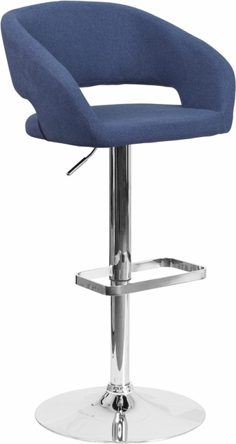 Contemporary Blue Fabric Adjustable Height Barstool With Chrome Base