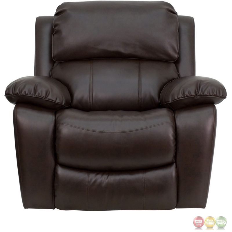 Contemporary Brown Bonded Leather Rocker Recliner