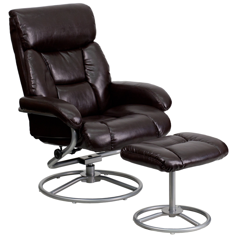 Contemporary Brown Leather Recliner And Ottoman With Metal