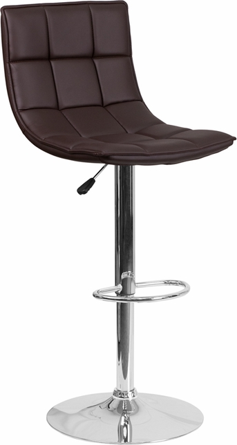 Contemporary Brown Quilted Vinyl Adjustable Height