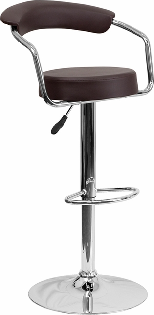 Contemporary Brown Vinyl Adjustable Height Barstool With Arms And Chrome Base