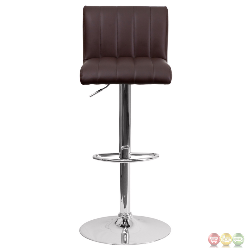 Contemporary Brown Vinyl Adjustable Height Barstool With