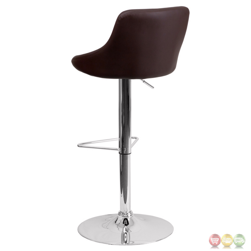 Contemporary Brown Vinyl Bucket Seat Adjustable Height