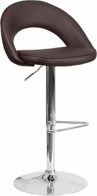 Contemporary Brown Vinyl Rounded Back Adjustable Height Barstool W/ Chrome Base
