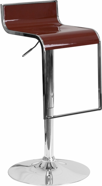 Contemporary Burgundy Plastic Adjustable Height Barstool With Chrome Drop Frame