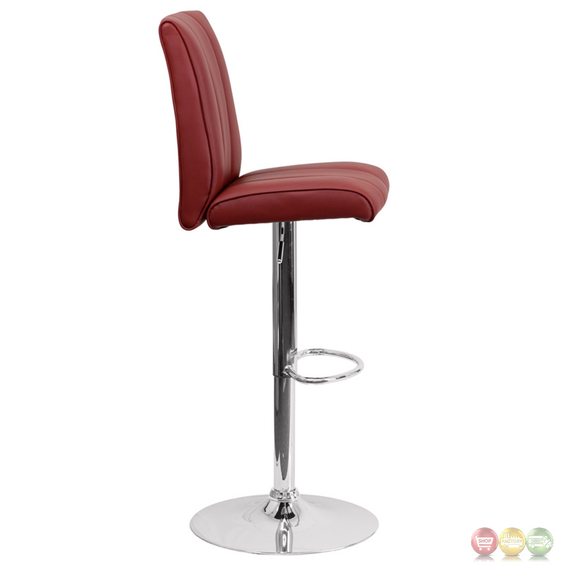 Contemporary Burgundy Vinyl Adjustable Height Barstool