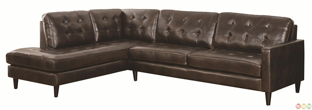 Contemporary button tufted sectional sofa with chaise for Button tufted chaise settee