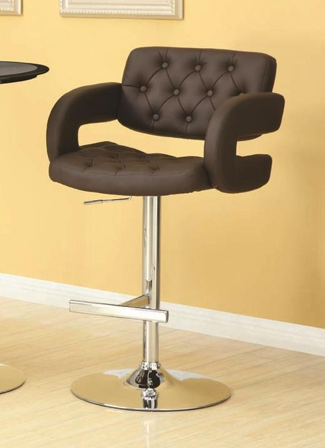 Contemporary Chrome Finish 29 Inch Height Bar Stool