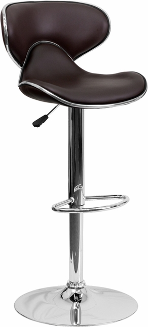 Contemporary Cozy Mid-back Brown Vinyl Adjustable Height Barstool W/ Chrome Base