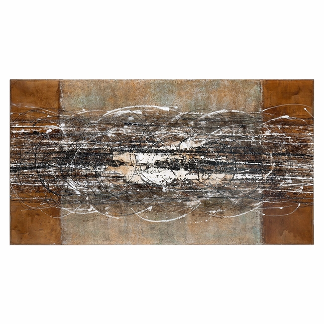 "Contemporary Earth Toned Frantic Abstract Art On Rectangular Canvas, 70""x38"""