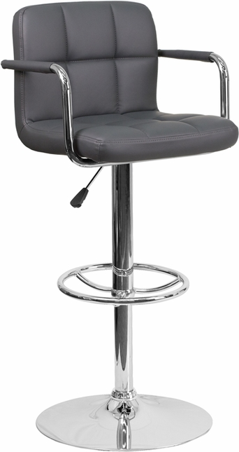 Contemporary Gray Quilted Vinyl Adjustable Height Barstool W/ Arms & Chrome Base