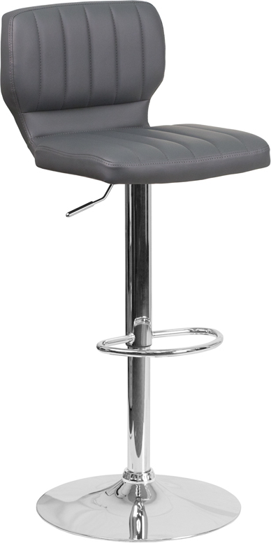 Contemporary Gray Vinyl Adjustable Height Barstool With