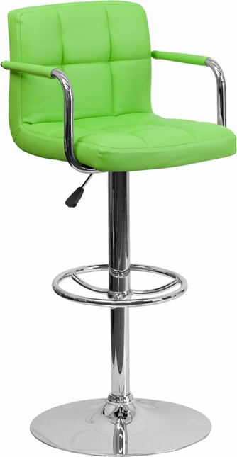 Contemporary Green Quilted Vinyl Adjustable Height Barstool W/ Chrome Base