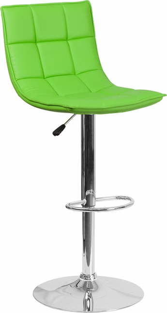 Contemporary Green Quilted Vinyl Adjustable Height Barstool With Chrome Base