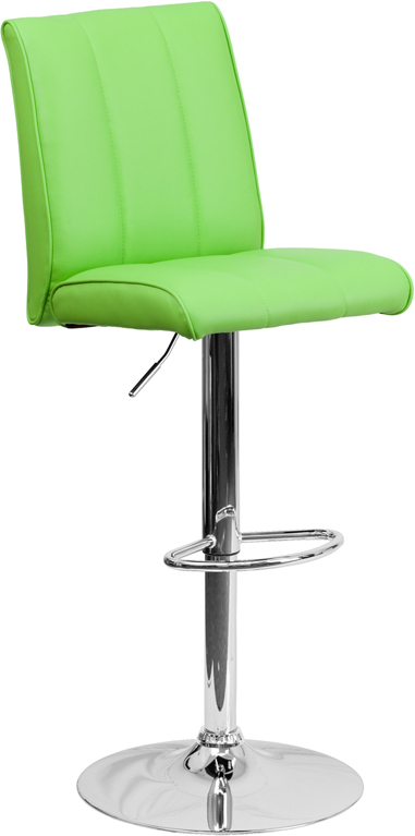 Contemporary Green Vinyl Adjustable Height Barstool With