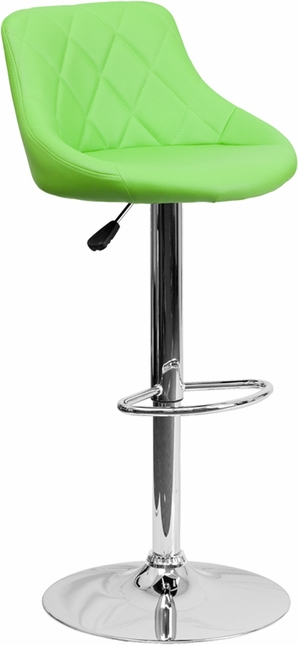 Contemporary Green Vinyl Bucket Seat Adjustable Height Barstool With Chrome Base