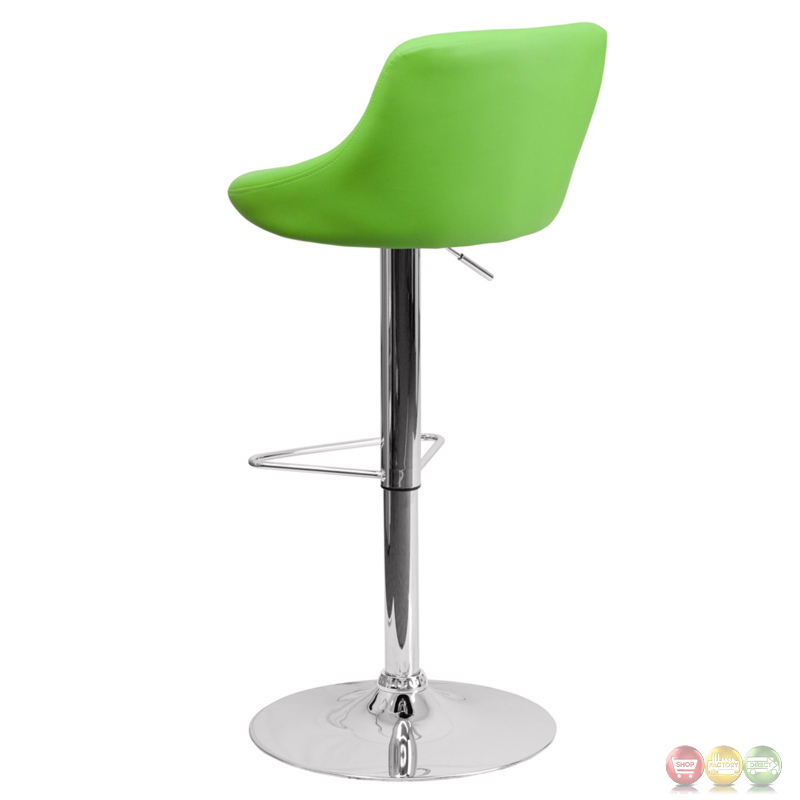 Contemporary Green Vinyl Bucket Seat Adjustable Height