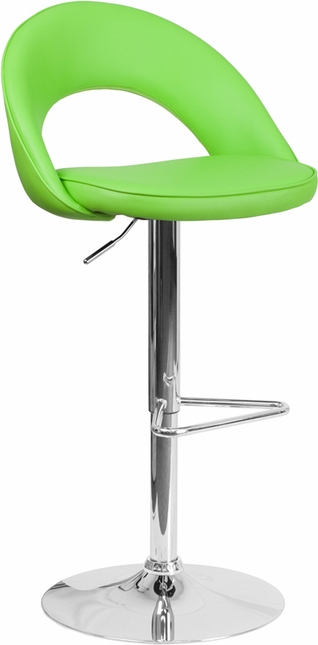 Contemporary Green Vinyl Rounded Back Adjustable Height Barstool W/ Chrome Base