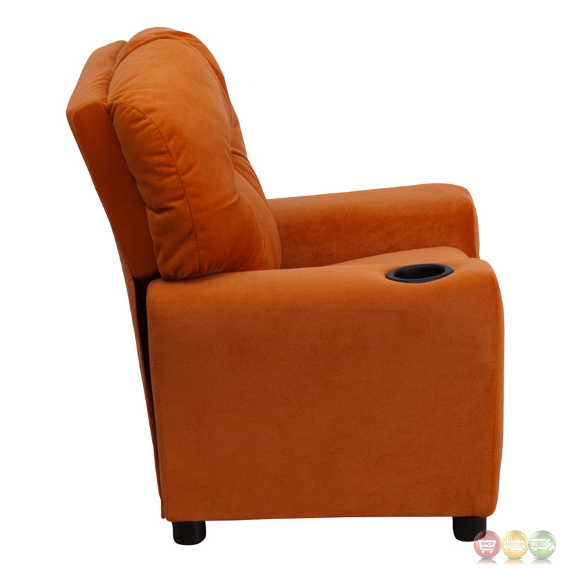 Contemporary Orange Microfiber Kids Recliner With Cup