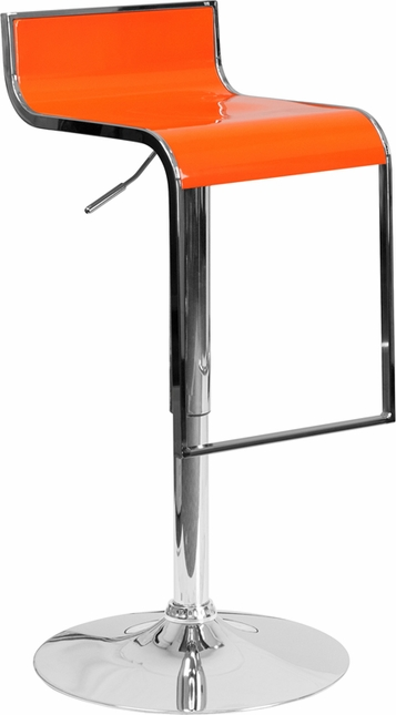 Contemporary Orange Plastic Adjustable Height Barstool With Chrome Drop Frame