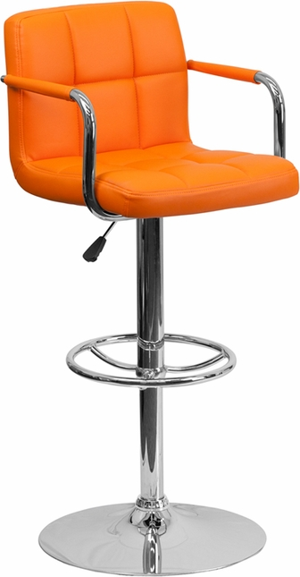 Contemporary Orange Quilted Vinyl Adjustable Height Barstool W/ Chrome Base