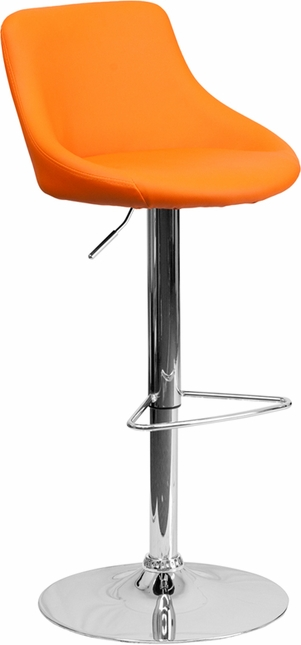 Contemporary Orange Vinyl Bucket Seat Adjustable Height Barstool W/ Chrome Base
