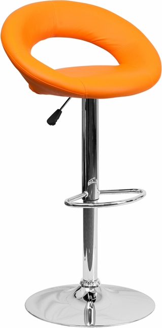 Contemporary Orange Vinyl Rounded Back Adjustable Height Barstool W/ Chrome Base