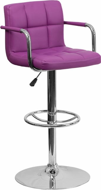 Contemporary Purple Quilted Vinyl Adjustable Height Barstool W/ Chrome Base