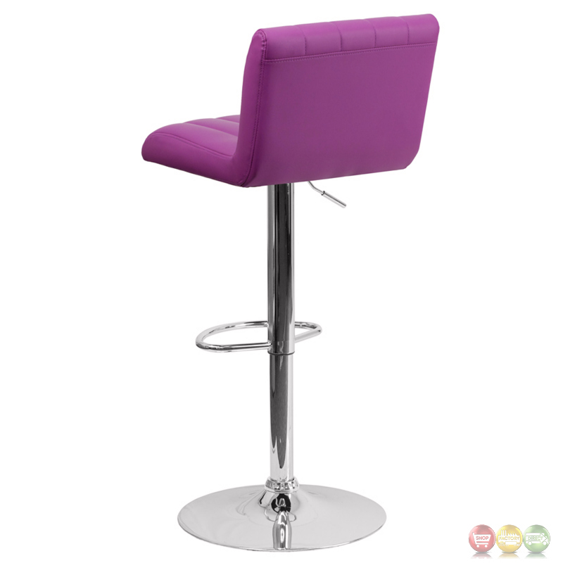 Contemporary Purple Vinyl Adjustable Height Barstool With