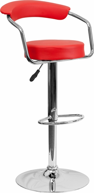 Contemporary Red Vinyl Adjustable Height Barstool With Arms And Chrome Base