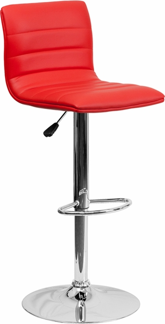 Contemporary Red Vinyl Adjustable Height Barstool With Chrome Base